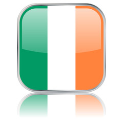 Square button with Irish flag with reflection