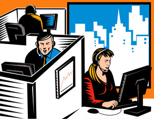 Telemarketers at work in a cubicle office