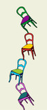 Juggling chairs in balance poster
