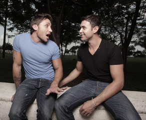 Two gay men having a conversation