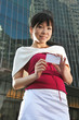 Beautiful Young Asian Woman With Name Card