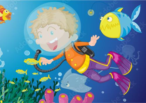 Fotobehang Onderzeeer Diver