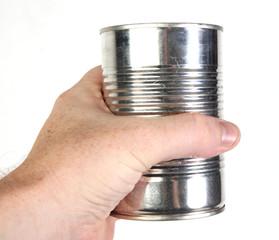 holding an aluminum tin can