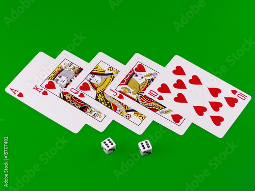 "The dice and playing cards-""royal flesh"" on green broadcloth."