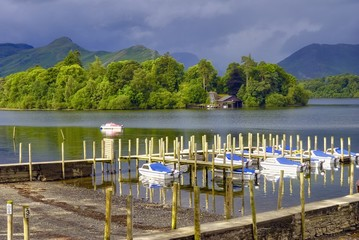 Boats moored in Derwent Water