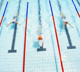 Three swimmers racing in a pool