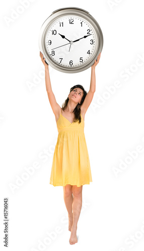 woman holding clock in her hands
