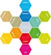 Calendar for year 2010 in an hexagonal pattern (vector format)