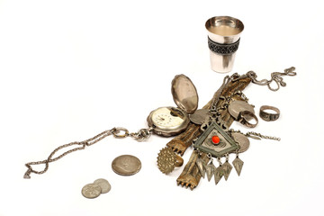 Group of ancient jewel and coins