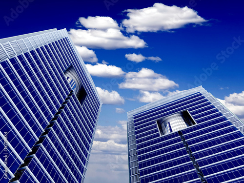 High modern skyscrapers on a background of cloudy sky