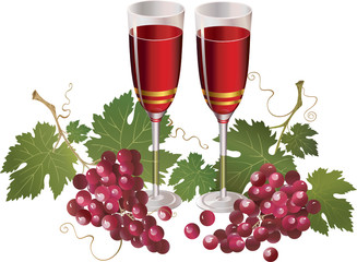 Glasses with wine and red grapes
