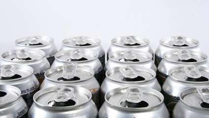 Soda cans top angle view