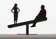 Large man and small girl on unbalanced plank