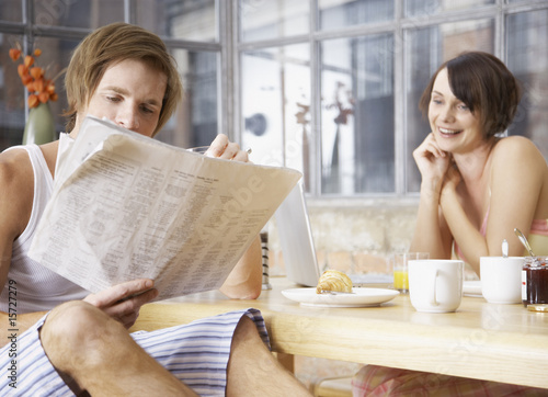 Couple at breakfast in modern home