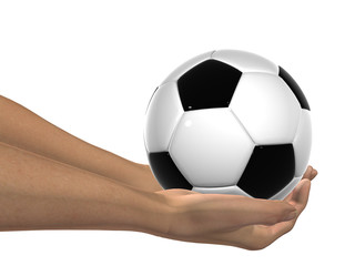 HIGH RESOLUTION 3D soccer ball held in hands isolated
