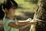 Girl with measuring tape around tree trunk