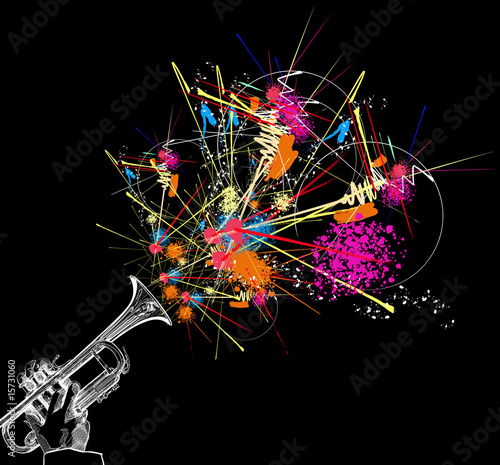 trumpet with colorful abstract decoration - 15731060