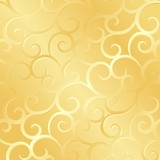 Golden spirals texture, pattern; vector illustration