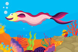 underwater coral reef scene with sea life