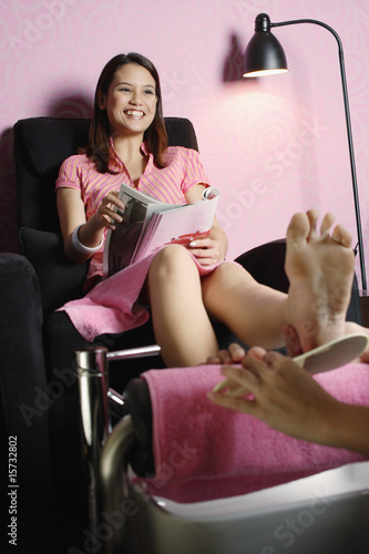 Woman getting a pedicure