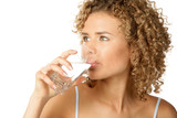 Fototapety Portrait of young woman drinking water