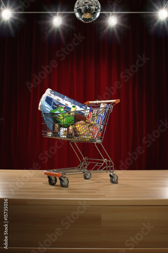 Full grocery cart on stage
