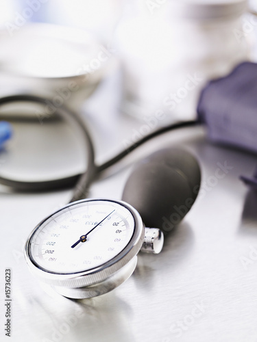 Blood pressure device on table