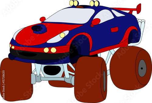 Foto op Canvas Cartoon cars vector -monstertruck isolated on background