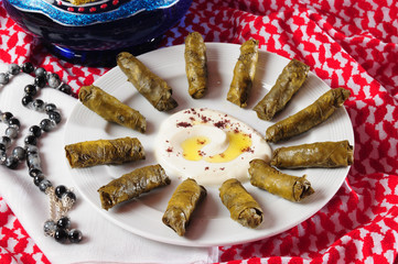 Dolmades with laban.