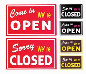 Open and Closed store signs. Vector Illustration.