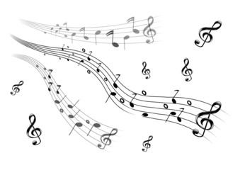 Noten mit Notenschlüssel als Set