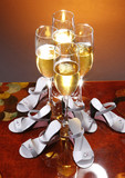 Wedding celebration champagne and favors poster