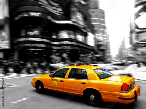 Leinwanddruck Bild Taxi at times square