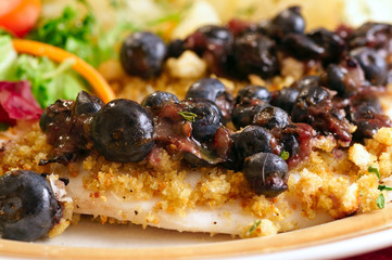 Close-up of croton-crusted tilapia with blueberry topping