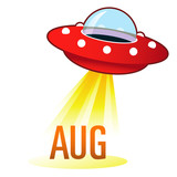 August calendar month icon on retro flying saucer UFO poster