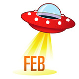 February calendar month icon on retro flying saucer UFO poster