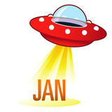 January calendar month icon on retro flying saucer UFO poster