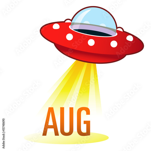 August calendar month icon on retro flying saucer UFO t-shirt