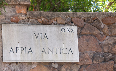 Sign at Via Appia Antica
