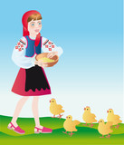 a poultry-maid feeds chickens poster