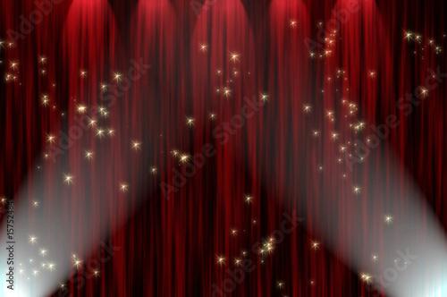 Fotobehang Licht, schaduw Large red curtain with spotlight