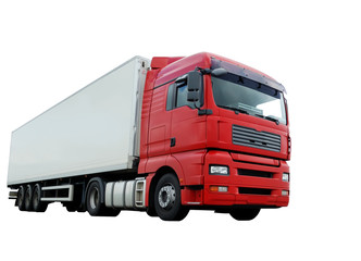 red lorry with white trailer over white