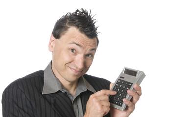 Business-Punk, Manager mit Taschenrechner Controler