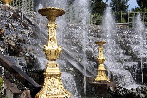 Leinwanddruck Bild Fontaine et salle de bal, Versailles
