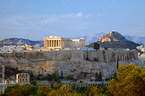 Staande foto Athene View on Acropolis at sunset, Athens, Greece