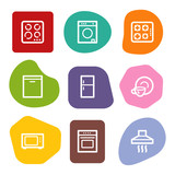 Home appliances web icons, colour spots series
