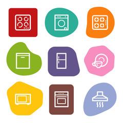 Home appliances web icons, colour spots series