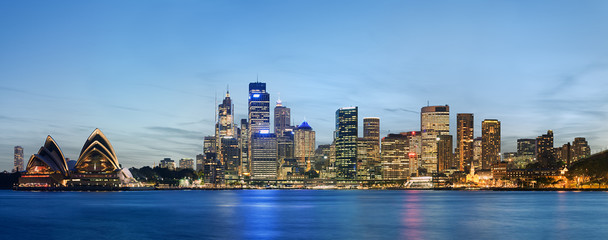 Panoramic view of Sydney skyline with blue sky