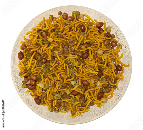 bombay mix indian snack on round plate