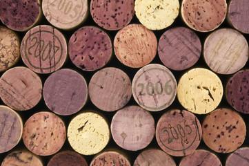 Wine corks on black background